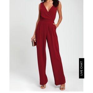 NWT Lulus Burgundy Lace Jumpsuit Size L.
